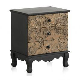 Dřevěný noční stolek s 3 zásuvkami Geese Fionne