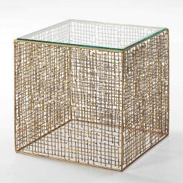 Odkládací stolek zlaté barvy ze skla a kovu Thai Natura Princess