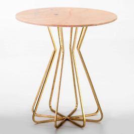 Odkládací stolek s růžovou mramorovou deskou Thai Natura, ∅60cm