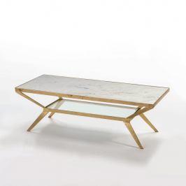 Konferenční stolek s bílou mramorovou deskou a nohami ve zlaté barvě Thai Natura, 50x109cm