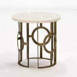 Odkládací stolek s mramorovou deskou a nohami v bronzové barvě Thai Natura, ∅50cm