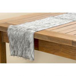 Šedý chlupatý běhoun na stůl Boltze, délka 120 cm