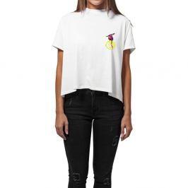 Dámské bílé triko z organické bavlny s motivem Dobrá energie od Dana Bárty & Vladimíra 518 pro KlokArt, vel.S
