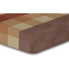 Hnědé elastické prostěradlo se vzorem DecoKing Hypnosis Arthur, 220x240cm