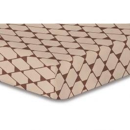 Béžové elastické prostěradlo se vzorem DecoKing Rhombuses,100x200cm