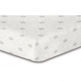 Bílé elastické prostěradlo se vzorem DecoKing Hypnosis Snowynight, 200x220cm