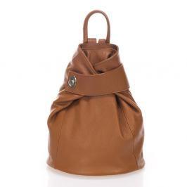 Koňakově hnědý kožený batoh Lisa Minardi Narni