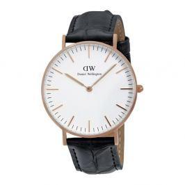 Pánské hodinky s koženým řemínkem a ciferníkem růžovozlaté barvy Daniel Wellington Reading, ⌀40mm