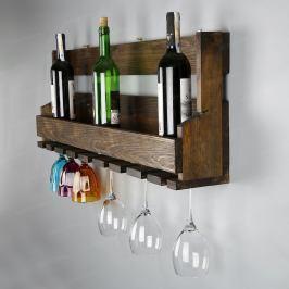 Ručně vyráběný stojan na víno a držák na skleničky z masivního dřeva Catalin Faina, 90x30x12cm