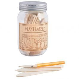 Set sklenice a 40 štítků na bylinky z topolového dřeva Esschert Design Heal, 400 ml