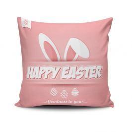 Růžový povlak na polštář Happy Easter, 45 x 45 cm