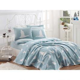 Bavlněný přehoz přes postel na dvoulůžko Single Pique Mint, 200 x 235 cm