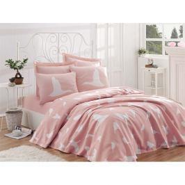 Bavlněný přehoz přes postel na jednolůžko Single Pique Rosa, 160 x 235 cm