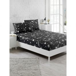 Set černého elastického prostěradla a2povlaků na polštáře na jednolůžko Starry Night, 160 x 200 cm