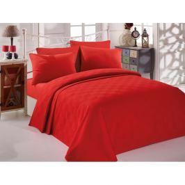 Červený bavlněný přehoz přes postel na dvoulůžko Single Pique Rojo, 200 x 234 cm
