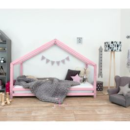 Růžová dětská postel z lakovaného smrkového dřeva Benlemi Sidy, 80 x 180 cm