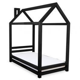 Dětská černá postel z smrkového dřeva Benlemi Happy,80x180cm