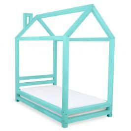Dětská tyrkysová postel z smrkového dřeva Benlemi Happy,90x200cm
