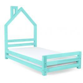 Dětská tyrkysová postel z smrkového dřeva Benlemi Wally,90x160cm