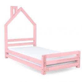Dětská růžová postel z smrkového dřeva Benlemi Wally,90x200cm
