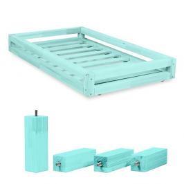 Set modré zásuvky pod postel a 4 prodloužených nohou Benlemi,propostel80x160cm