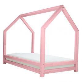 Růžová dětská postel z lakovaného smrkového dřeva Benlemi Funny, 90 x 200 cm