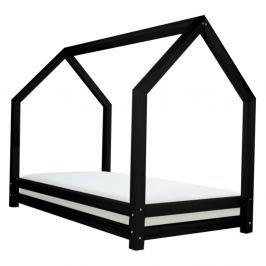 Černá dětská postel z lakovaného smrkového dřeva Benlemi Funny, 90 x 200 cm