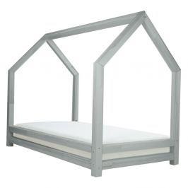 Šedá dětská postel z lakovaného smrkového dřeva Benlemi Funny, 90 x 180 cm