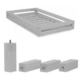 Set šedého šuplíku a prodloužených noh ze smrkového dřeva k posteli Benlemi Funny, 90 x 140 cm
