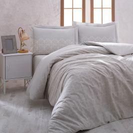 Bavlněné povlečení s prostěradlem na jednolůžko Grey Elegance, 160 x 220 cm