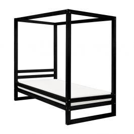 Černá dřevěná jednolůžková postel Benlemi Baldee, 200x80cm