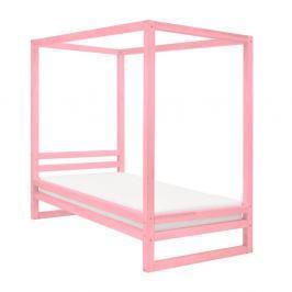 Růžová dřevěná jednolůžková postel Benlemi Baldee, 200x90cm