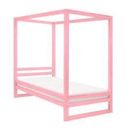 Růžová dřevěná jednolůžková postel Benlemi Baldee, 190x80cm