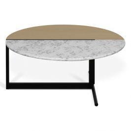 Konferenční stolek s deskou v dekoru dubu a bílého mramoru TemaHome Mezzo