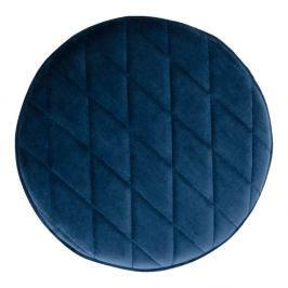 Modrý puf ze sametu House Nordic Ejby, ø 34 cm