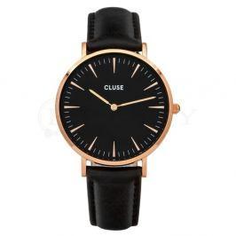 Dámské černé hodinky s koženým řemínkem a detaily v barvě růžového zlata Cluse La Bohéme
