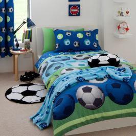 Modré dětské povlečení s motivem fotbalového míče Catherine Lansfield, 135x200cm