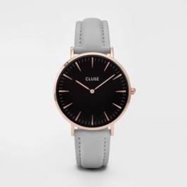 Dámské hodinky s šedým koženým řemínkem a detaily v barvě růžového zlata Cluse La Bohéme