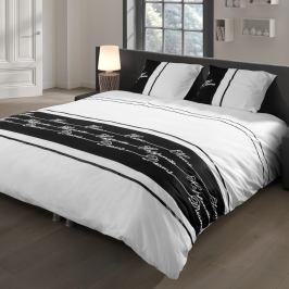 Povlečení na dvoulůžko z bavlněného saténu Muller Textiels White/Black, 140 x 200 cm