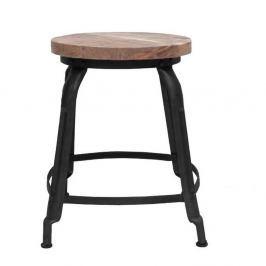 Černá stolička se sedákem z mangového dřeva LABEL51 Delhi