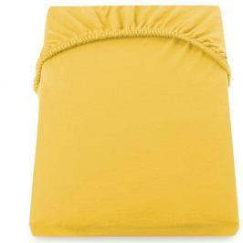 Žluté prostěradlo DecoKing Amber Collection, 200-220 x 200 cm