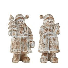 Sada 2 dekorativních Santa Clausů KJ Collection, výška 13,5 cm