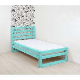 Tyrkysově modrá dřevěná jednolůžková postel Benlemi DeLuxe, 200x80cm