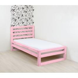Růžová dřevěná jednolůžková postel Benlemi DeLuxe, 190x80cm