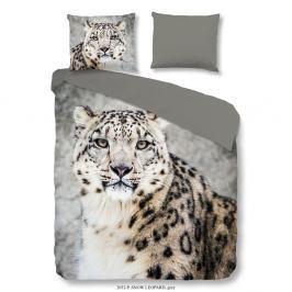 Povlečení na jednolůžko z bavlněného saténu Good Morning Premento Snow Leopard, 140 x 200 cm