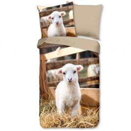 Dětské povlečení na jednolůžko z čisté bavlny Muller Textiels Lamb, 135 x 200 cm