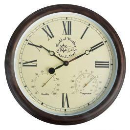 Venkovní nástěnné hodiny s římskými číslicemi a teploměrem Ego Dekor