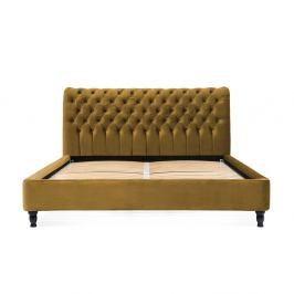 Hořčicově hnědá postel z bukového dřeva s černými nohami Vivonita Allon, 180 x 200 cm