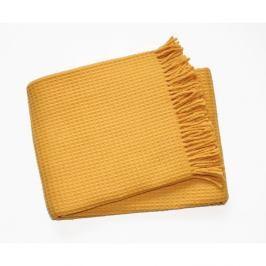 Žlutý pléd s podílem bavlny Euromant Waffle, 140x180cm