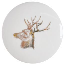 Bílá keramická krabička na šperky Ewax Deer, ⌀8cm